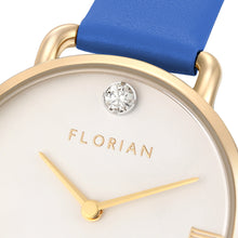 Pure Diamond Champagne Gold Dodger Blue Strap Watch | 30mm
