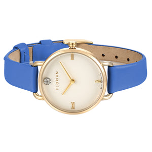 Pure Diamond Dodger Blue and Champagne Gold Watch | 30mm
