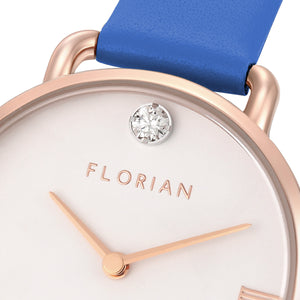 Pure Diamond Rosy Gold Dodger Blue Strap Watch | 30mm
