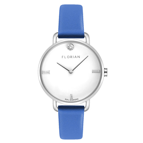 Pure Diamond Silver Chic Dodger Blue Strap Watch | 30mm