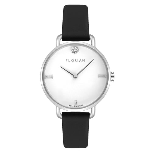 Pure Diamond Silver Chic Midnight Black Strap Watch | 30mm