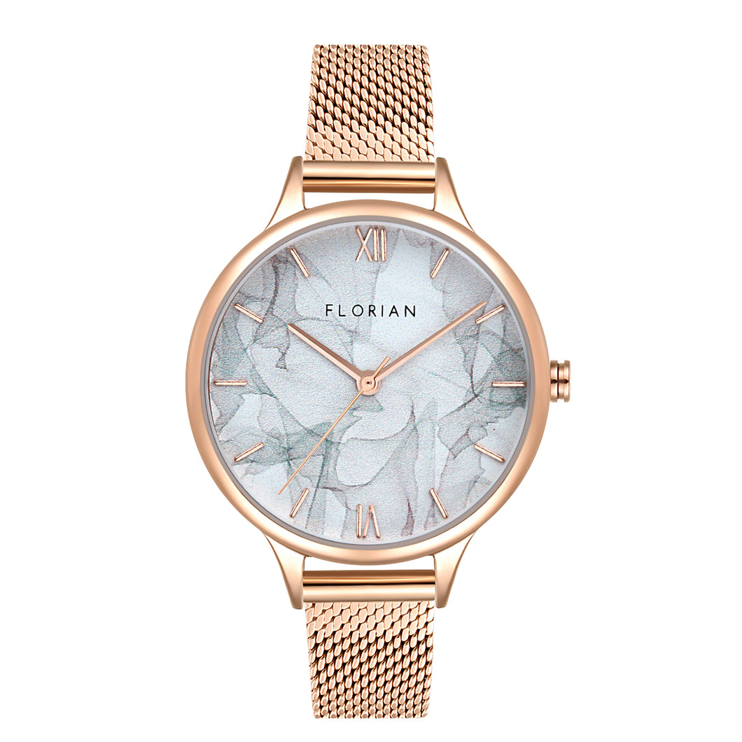 Happy Lady Smoke Dial Rose Gold Mesh Watch | 34mm