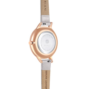 Happy Lady Smoke Dial Rosy Gold Snow White Strap Watch | 34mm
