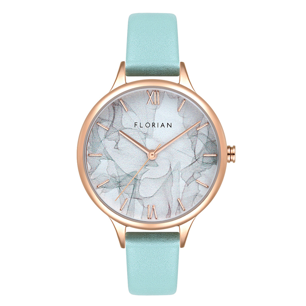 Happy Lady Smoke Dial Rosy Gold Pistachio Green Strap Watch | 34mm