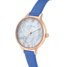 Happy Lady Smoke Dial Rosy Gold Dodger Blue Strap Watch | 34mm