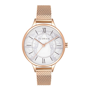 Happy Lady Papillon Dial Rosy Gold Mesh Watch | 34mm