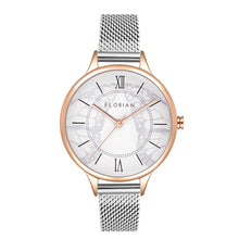 Happy Lady Papillon Dial Silver and Rose Gold Mesh Watch | 34mm