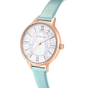 Happy Lady Papillon Dial Pistachio Green and Rose Gold Watch | 34mm