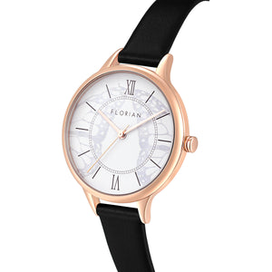 Happy Lady Papillon Dial Midnight Black and Rose Gold Watch | 34mm