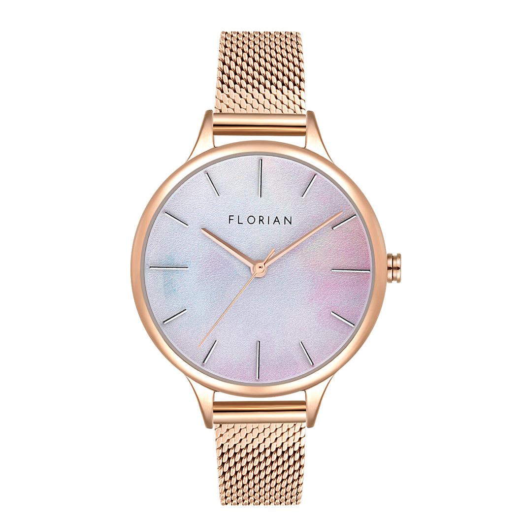 Happy Lady Mirage Dial Rosy Gold Mesh Watch | 34mm