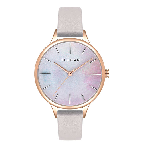 Happy Lady Mirage Dial Snow White and Rose Gold Watch | 34mm
