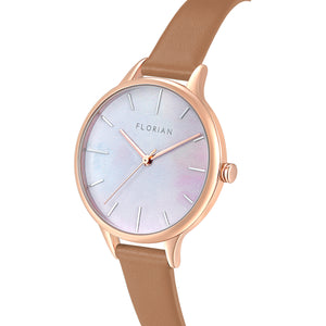 Happy Lady Mirage Dial Tenne Brown and Rose Gold Watch | 34mm