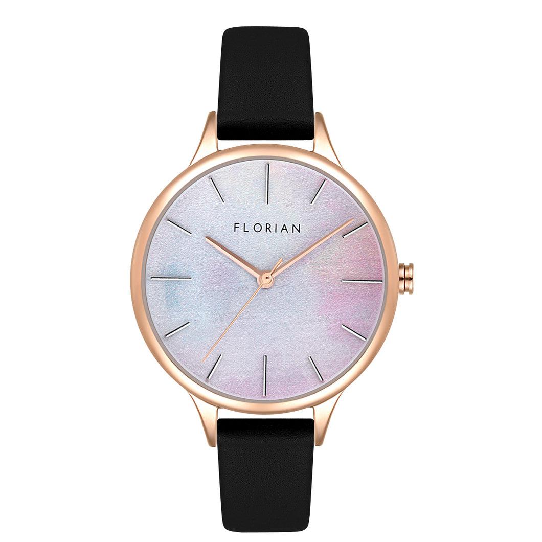 Happy Lady Mirage Dial Midnight Black and Rose Gold Watch | 34mm