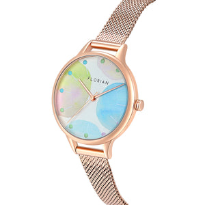 Happy Lady Lollipop Dial Rosy Gold Mesh Watch | 34mm