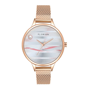 Happy Lady La Mer Dial Rose Gold Mesh Watch | 34mm