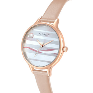 Happy Lady La Mer Dial Rosy Gold Salmon Pink Strap Watch | 34mm