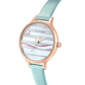 Happy Lady La Mer Dial Pistachio Green and Rose Gold Watch | 34mm