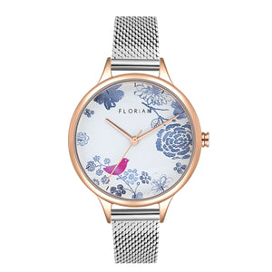 Happy Lady Porcelain Dial Rosy Gold Silver Chic Mesh Watch | 34mm