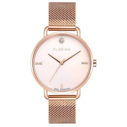 Pure Diamond Rosy Gold Mesh Watch | 36mm