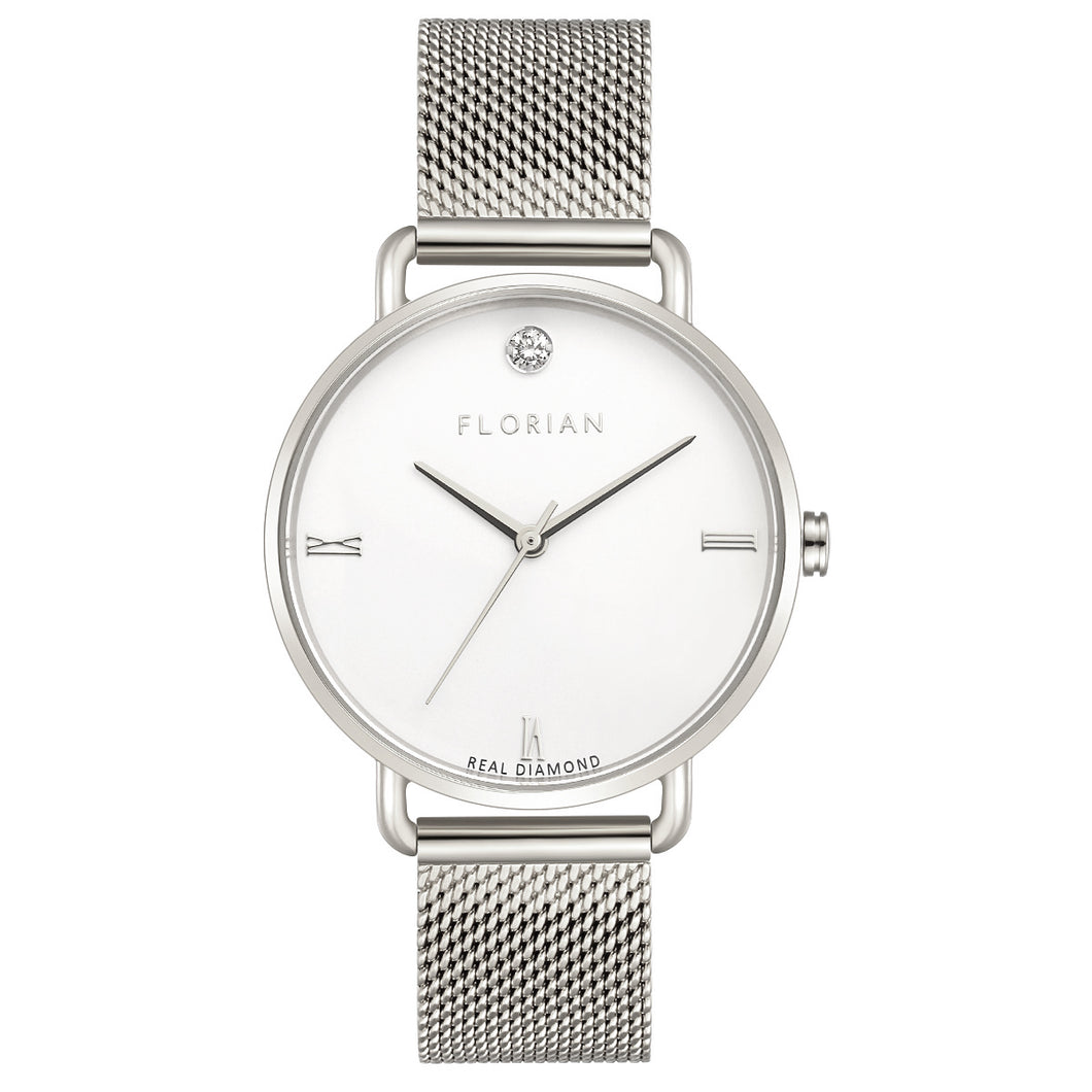 Pure Diamond Silver Chic Mesh Watch | 36mm