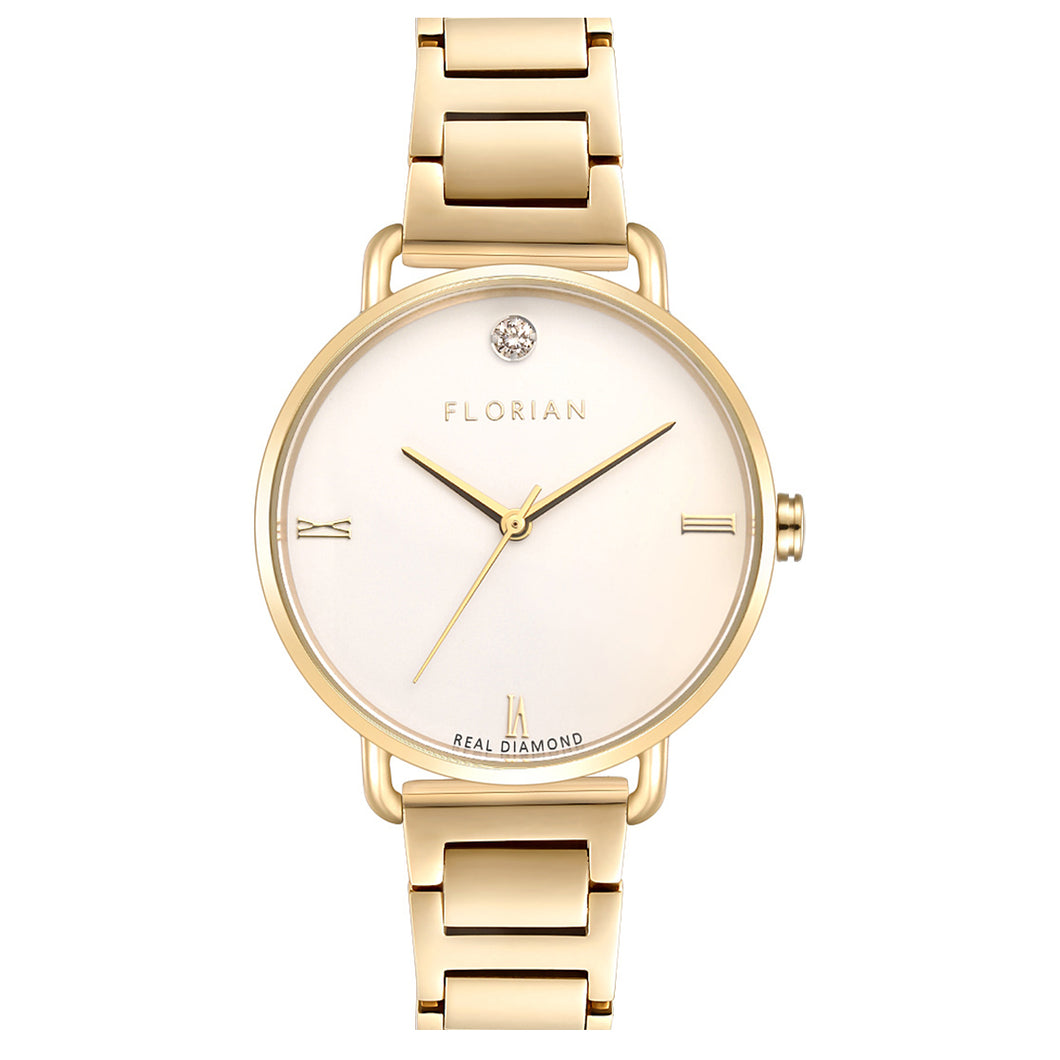 Pure Diamond Champagne Gold Bracelet Watch | 36mm