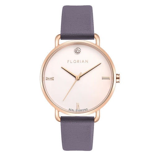 Pure Diamond Rosy Gold Lilac Violet Strap Watch | 36mm