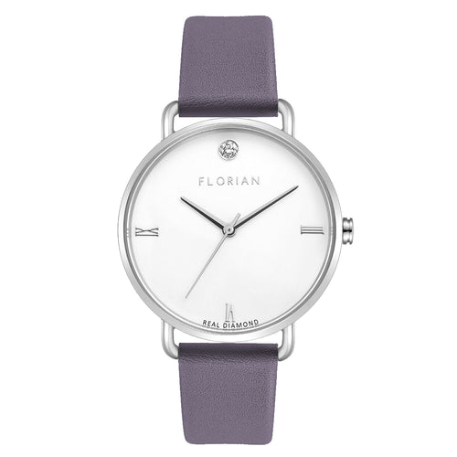 Pure Diamond Silver Chic Lilac Violet Strap Watch | 36mm