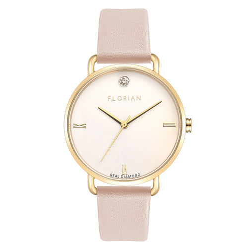 Pure Diamond Champagne Gold Sea Coral Strap Watch | 36mm