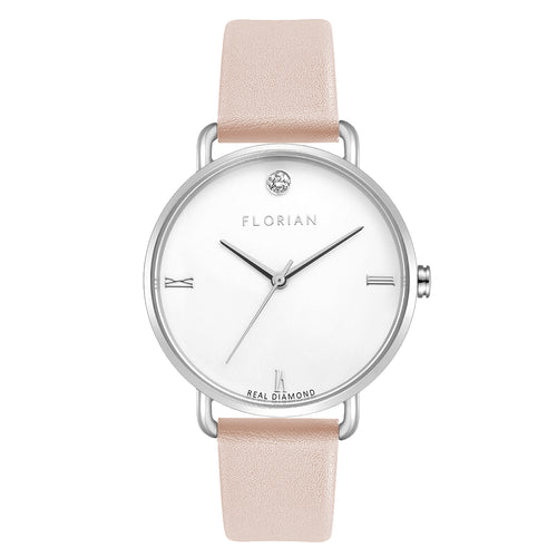 Pure Diamond Silver Chic Sea Coral Strap Watch | 36mm
