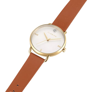 Pure Diamond Champagne Gold Tenne Brown Strap Watch | 36mm