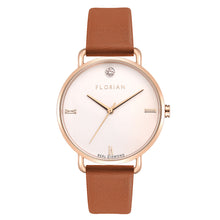 Pure Diamond Rosy Gold Tenne Brown Strap Watch | 36mm