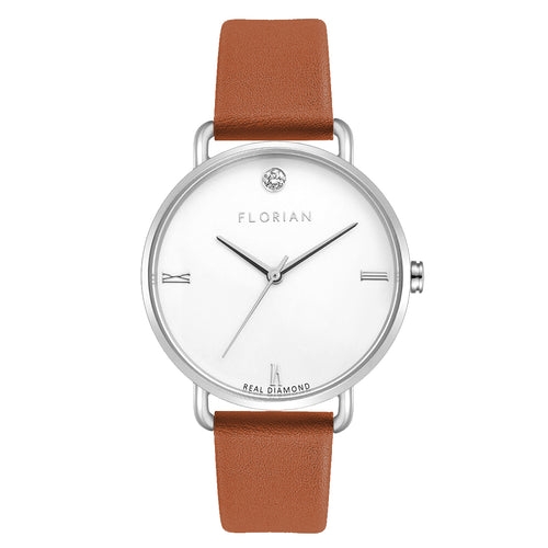 Pure Diamond Silver Chic Tenne Brown Strap Watch | 36mm