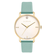 Pure Diamond Champagne Gold Pistachio Green Strap Watch | 36mm