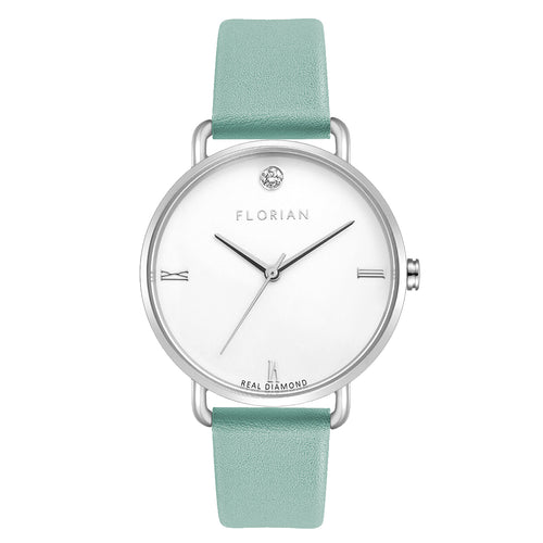 Pure Diamond Silver Chic Pistachio Green Strap Watch | 36mm