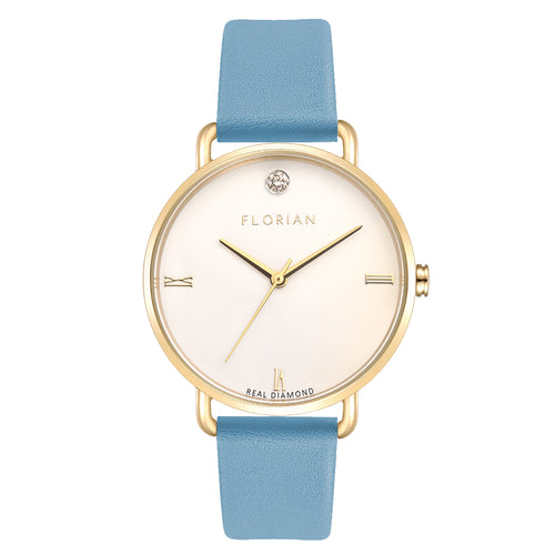 Pure Diamond Champagne Gold Angel Blue Strap Watch | 36mm
