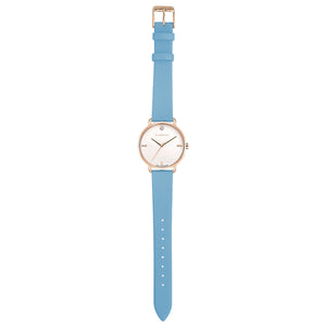 Pure Diamond Rosy Gold Angel Blue Strap Watch | 36mm