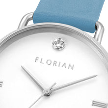 Pure Diamond Silver Chic Angel Blue Strap Watch | 36mm