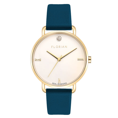 Pure Diamond Champagne Gold Teal Blue Strap Watch | 36mm