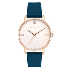 Pure Diamond Rosy Gold Teal Blue Strap Watch | 36mm