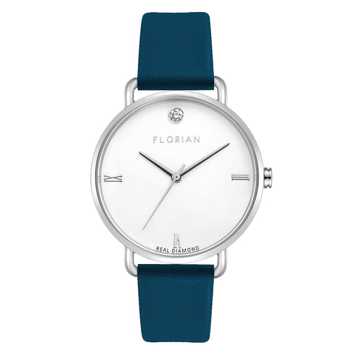 Pure Diamond Silver Chic Teal Blue Strap Watch | 36mm