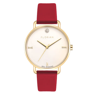 Pure Diamond Champagne Gold Cherry Red Strap Watch | 36mm