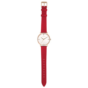 Pure Diamond Rosy Gold Cherry Red Strap Watch | 36mm