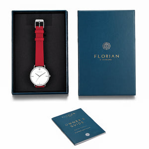 Pure Diamond Silver Chic Cherry Red Strap Watch | 36mm