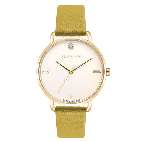 Pure Diamond Champagne Gold Mustard Beige Strap Watch | 36mm