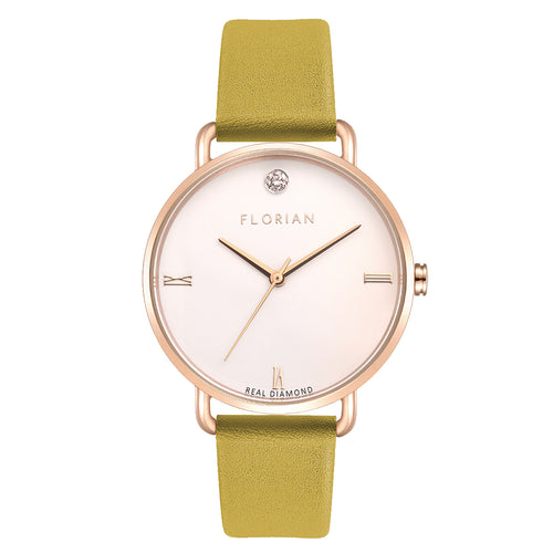 Pure Diamond Rosy Gold Mustard Beige Strap Watch | 36mm