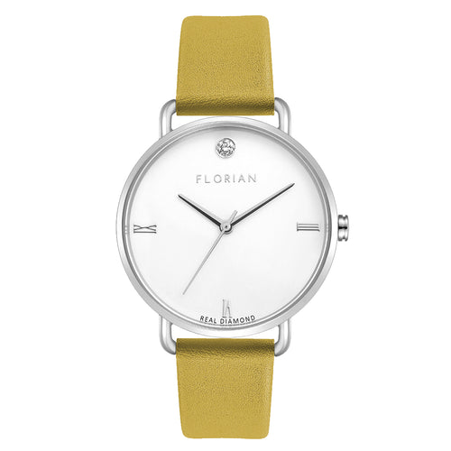 Pure Diamond Silver Chic Mustard Beige Strap Watch | 36mm