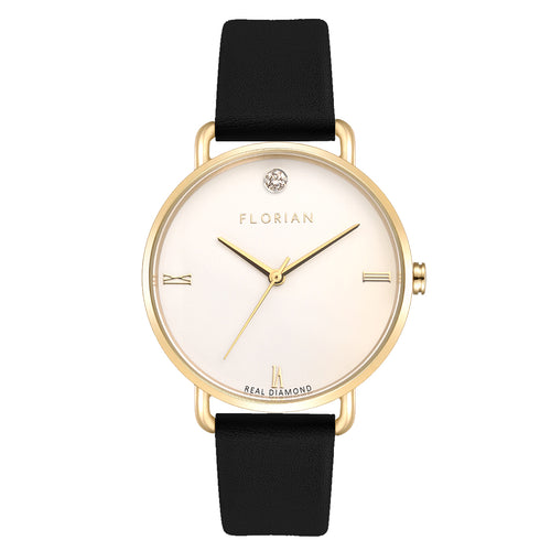 Pure Diamond Champagne Gold Midnight Black Strap Watch | 36mm