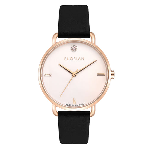 Pure Diamond Rosy Gold Midnight Black Strap Watch | 36mm