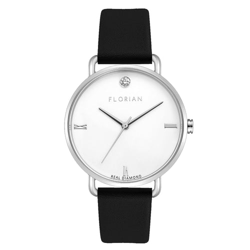 Pure Diamond Silver Chic Midnight Black Strap Watch | 36mm
