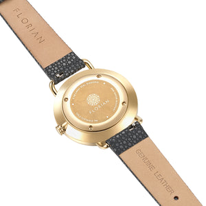 Pure Diamond Champagne Gold Charcoal Grey Strap Watch | 36mm